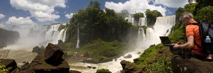Businessman at Iguazu Falls
