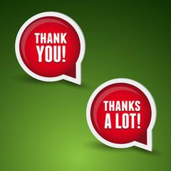 Thank you - grateful bubbles. Vector set.