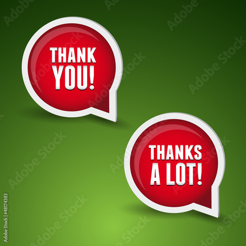 Thank you - grateful bubbles. Vector set.