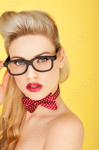 Glamorous retro blonde fashion model