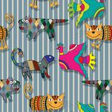 Seamless childlike drawing pattern poster