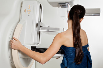 Woman Taking A Mammogram X-ray Test