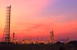 Landscape oil refinery at twilight