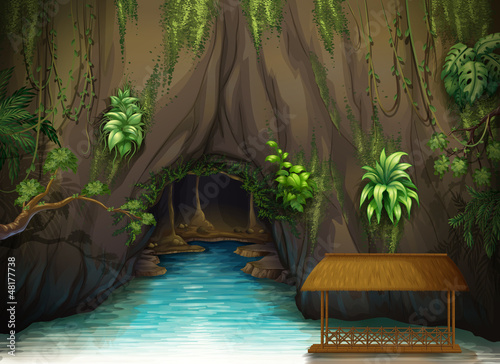A cave, a water and a wooden shade