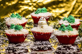 Christmas Cupcakes with Snowman and Christmas Tree Frosting