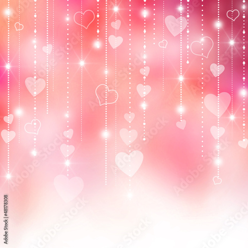 Pink Valentine's hearts background