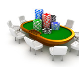 Gambling poker table with chairs and chips on it.
