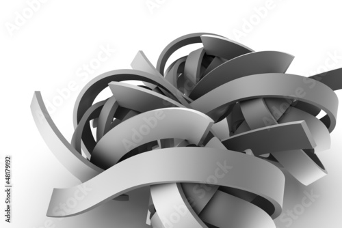 Abstract gray ribbons on white background