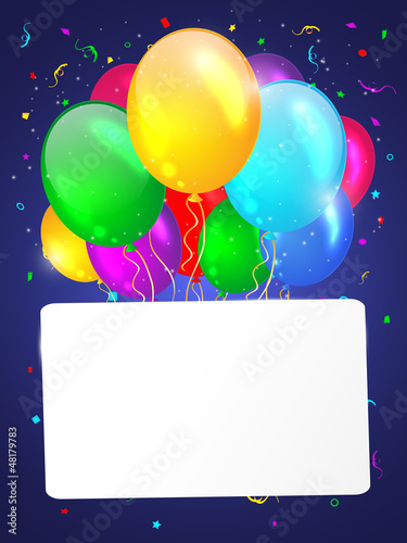 White background with multicolored balloons. Vector illustration