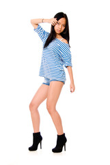 Girl in a striped T-shirt.Portrait isolated on white