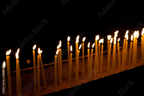 Candles in the Holy Sepulchre on Mount Calvary