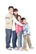 full length of happy asian family