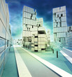 Wintertime center alighted city illustration with cloudy sky