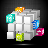 vector illustration of 3d cube block with media icon