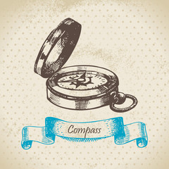 Mariner's compass. Hand drawn illustration.