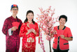 chinese new year family  with ang pow