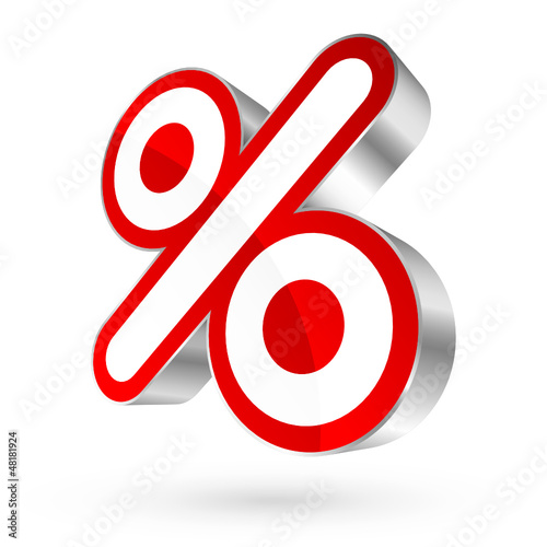 Red/Silver Percent Sign 3D Sale