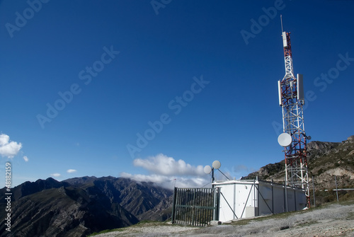 mobile phone relay station on top of a mountain