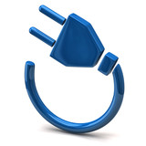 Blue electric plug icon