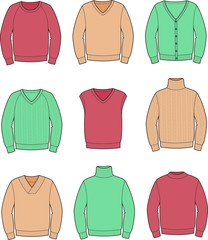 Vector illustration of men's jumpers
