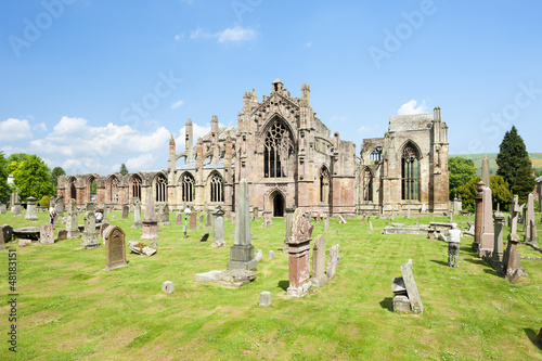 ruins of Melrose Abbey, Scottish Borders, Scotland