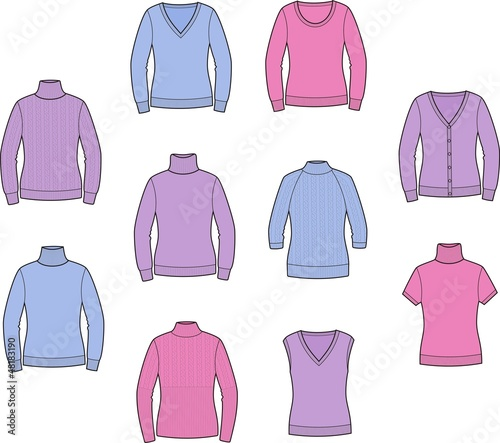 Vector illustration of women's jumpers