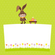 Card Bunny Pulling Handcart Easter Eggs