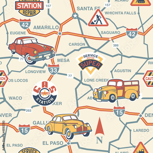 Spoed canvasdoek 2cm dik Op straat Cute route map seamless pattern