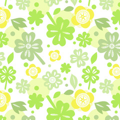 Shamrock on white seamless pattern, vector