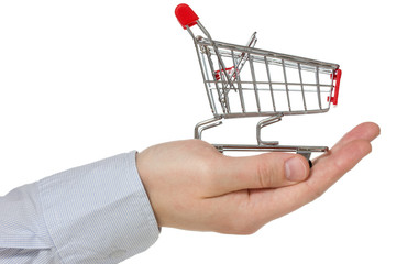 Hand holding shopping cart