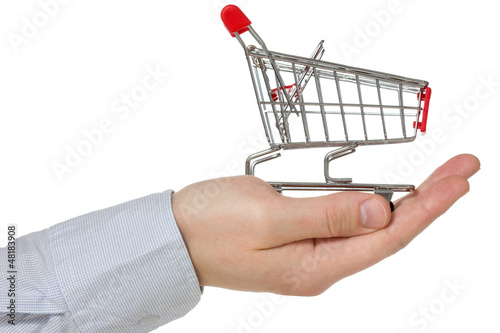 Hand holding shopping cart