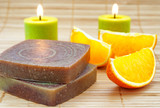 Hand-made soap with orange