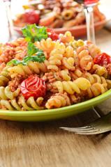 Pasta fusilli with bolognese