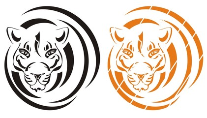 Tiger symbol in the form of a circle. Black and orange variants