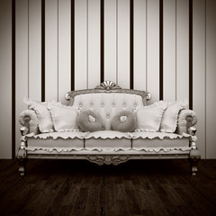 beautiful old retro sofa interior