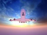 White passenger plane starting flying
