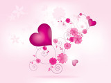 Abstract floral background for valentines day with heart