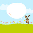 Bunny Meadow Holding Daffodil Speech Bubble