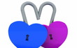 Padlocks heart-shaped that open - 3D