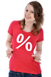 Junge Frau in rotem Sale-Shirt