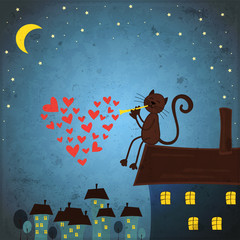 Valentines day background with cat and heart