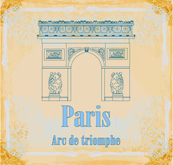 Hand drawn vector illustration of Paris Triumph Arc -  Grunge B