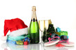 Beach accessories champagne and Christmas tree isolated on