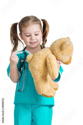 girl kid playing a doctor with syringe in hand isolated on white