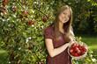 Hübsche Landfrau zeigt einen Korb mit roten Äpfeln