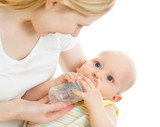 mother feeding  his baby infant from bottle