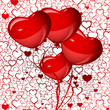 bright red heart balloons background, vector