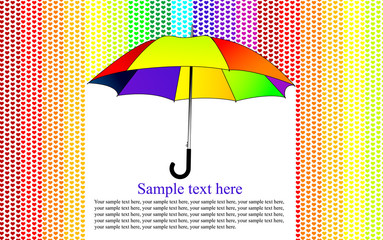 colorful background with umbrella in the heart rain, vector