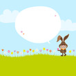 Bunny Meadow Holding Easter Egg Speech Bubble