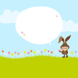 Bunny Meadow Holding Easter Egg Speech Bubble